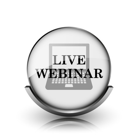 Live webinar icon. Shiny glossy internet button on white background.  photo