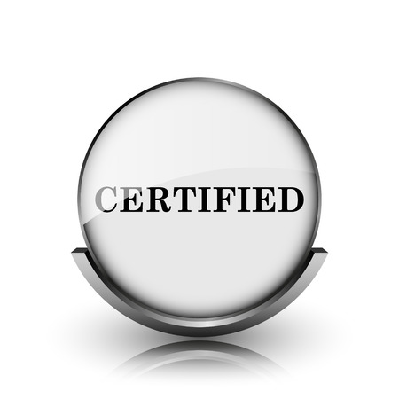 endorsed: Certified icon. Shiny glossy internet button on white background.