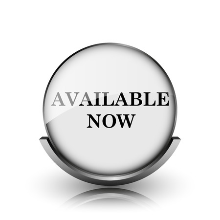 Available now icon. Shiny glossy internet button on white background.  photo