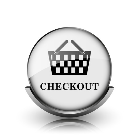 Checkout icon. Shiny glossy internet button on white background.  photo