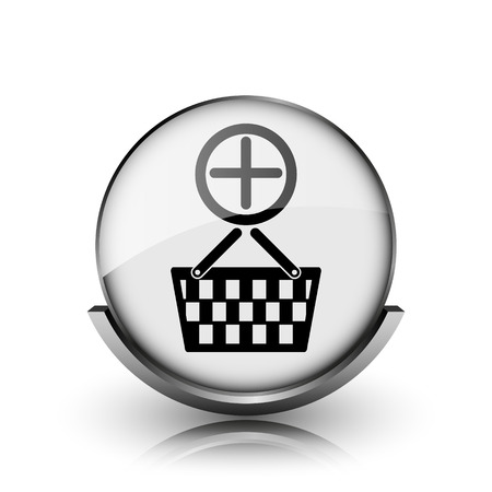 Add to basket icon. Shiny glossy internet button on white background.  photo