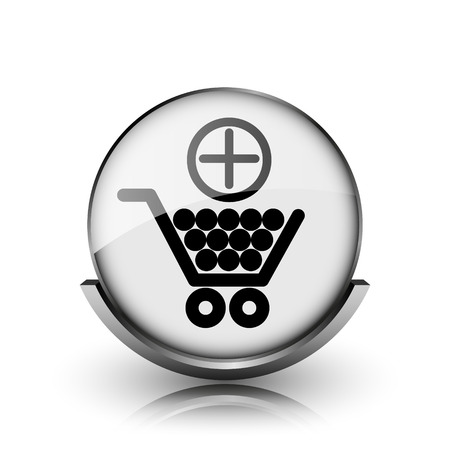 Add to shopping cart icon. Shiny glossy internet button on white background.  photo