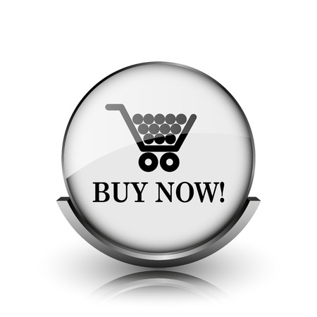 Buy now shopping cart icon. Shiny glossy internet button on white background.  photo