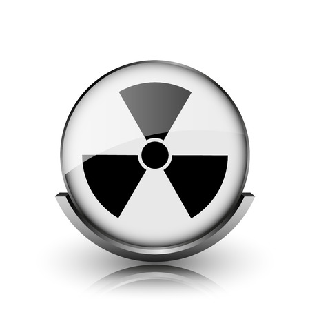Radiation icon. Shiny glossy internet button on white background.  photo