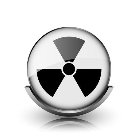 Radiation icon. Shiny glossy internet button on white background.  photo