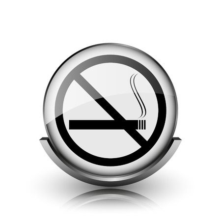 No smoking icon. Shiny glossy internet button on white background.  photo