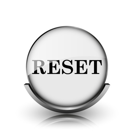 redesign: Reset icon. Shiny glossy internet button on white background.  Stock Photo