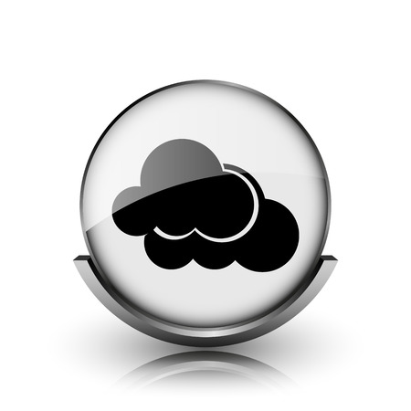 Clouds icon. Shiny glossy internet button on white background.  photo