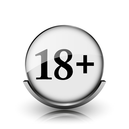 18 plus icon. Shiny glossy internet button on white background.  photo