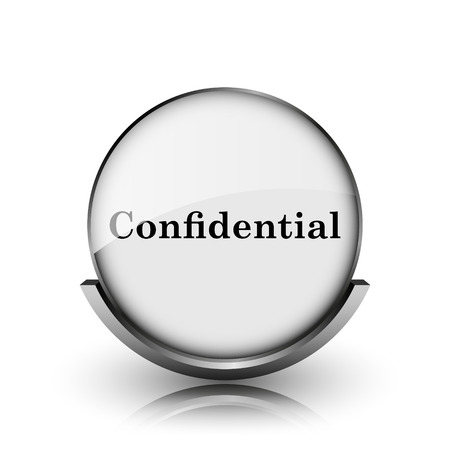 confidentiality: Confidential icon. Shiny glossy internet button on white background.