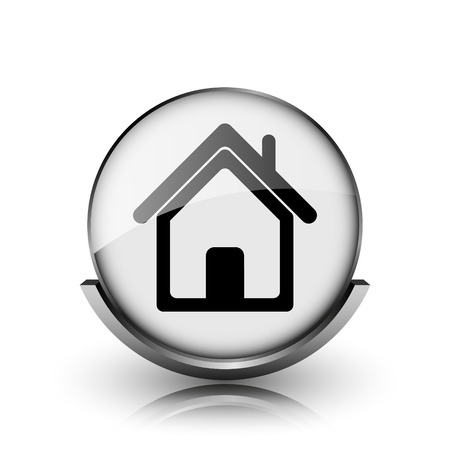 Home icon. Shiny glossy internet button on white background.  photo