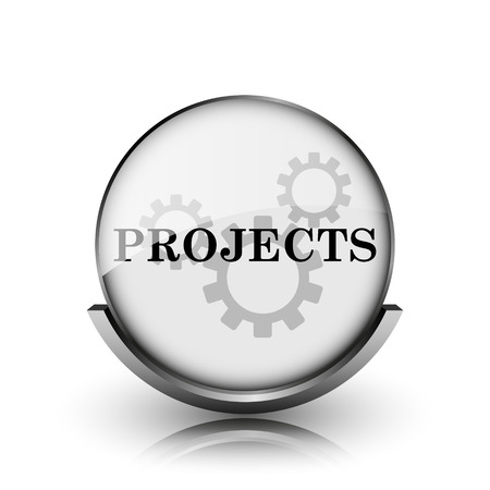 Projects icon. Shiny glossy internet button on white background.  photo