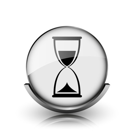 Hourglass icon. Shiny glossy internet button on white background.  photo