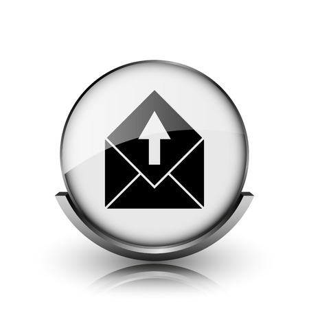 Send e-mail icon. Shiny glossy internet button on white background.  photo