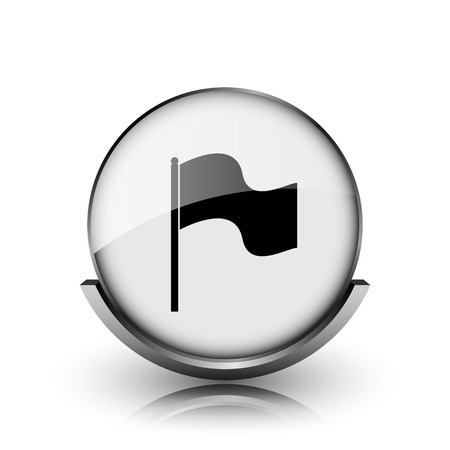 Flag icon. Shiny glossy internet button on white background.  photo