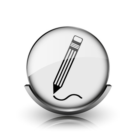 Pen icon. Shiny glossy internet button on white background.  photo