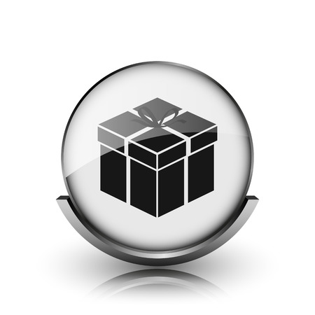 Gift icon. Shiny glossy internet button on white background.  photo