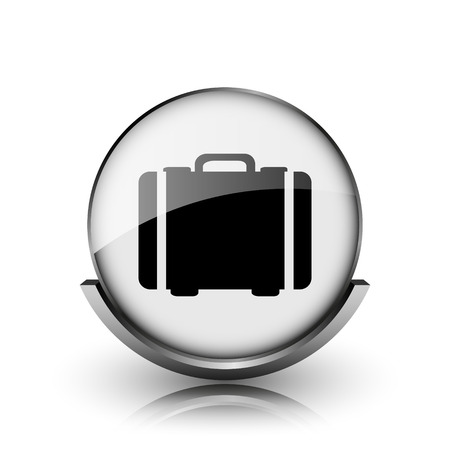 Suitcase icon. Shiny glossy internet button on white background.  photo