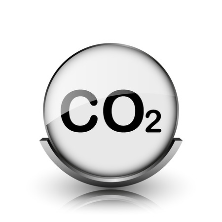 danger carbon dioxide  co2  labels: CO2 icon. Shiny glossy internet button on white background.  Stock Photo