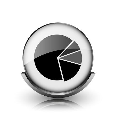 Chart pie icon. Shiny glossy internet button on white background.  photo