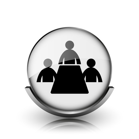 Meeting room icon. Shiny glossy internet button on white background.  photo