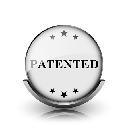 secured property: Patented icon. Shiny glossy internet button on white background.
