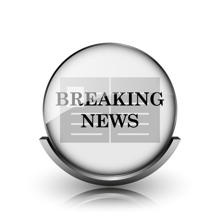 Breaking news icon. Shiny glossy internet button on white background.  photo
