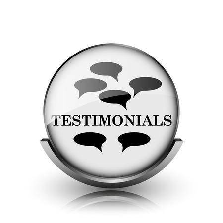 testimony: Testimonials icon. Shiny glossy internet button on white background.  Stock Photo