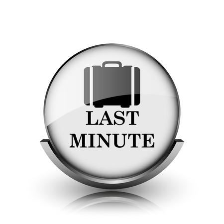 advantageous: Last minute icon. Shiny glossy internet button on white background.  Stock Photo