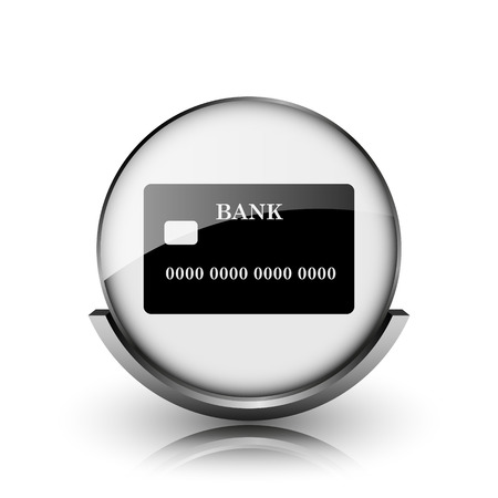 Card icon. Shiny glossy internet button on white background.  photo