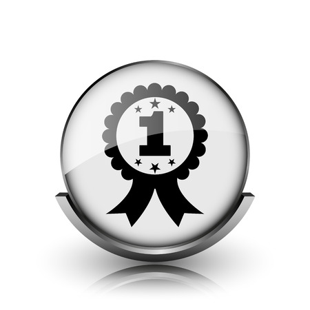 First prize ribbon icon. Shiny glossy internet button on white background.  photo