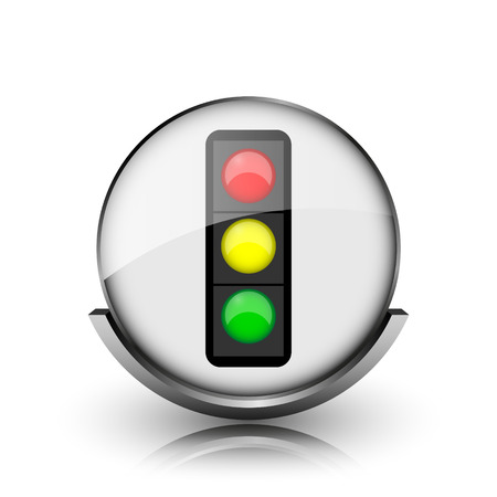 Traffic light icon. Shiny glossy internet button on white background.  photo
