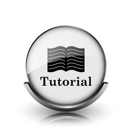 Tutorial icon. Shiny glossy internet button on white background.  Stock Photo