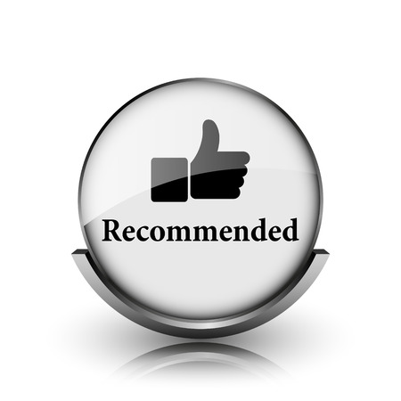recommendations: Recommended icon. Shiny glossy internet button on white background.  Stock Photo