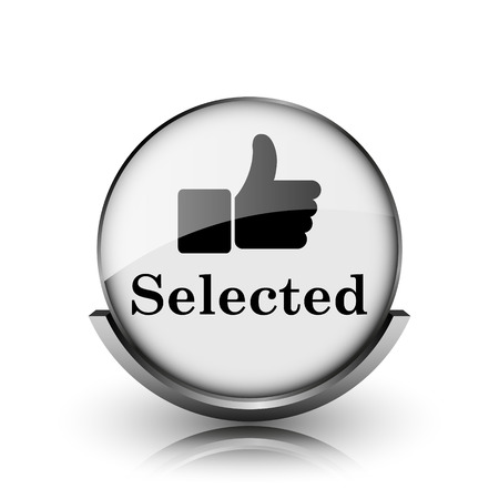 Selected icon. Shiny glossy internet button on white background.  photo