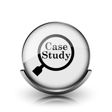 study icon: Icon Estudio de caso. Brillante brillante bot�n de internet sobre fondo blanco.