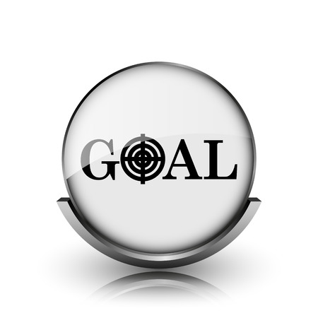 Goal icon. Shiny glossy internet button on white background.  photo
