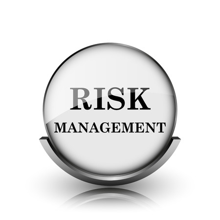 Risk management icon. Shiny glossy internet button on white background.  photo
