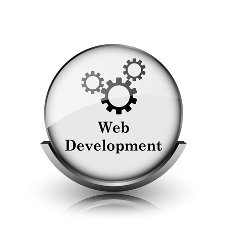 Web development icon. Shiny glossy internet button on white background.  photo