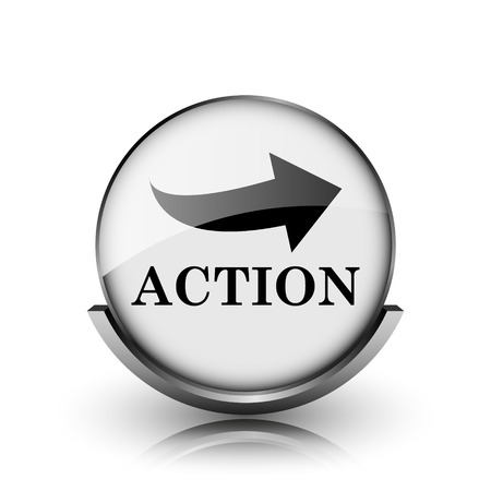 Action icon. Shiny glossy internet button on white background.
