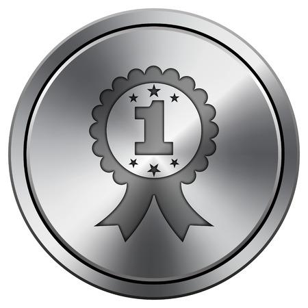 First prize ribbon icon. Metallic internet button on white background.  photo