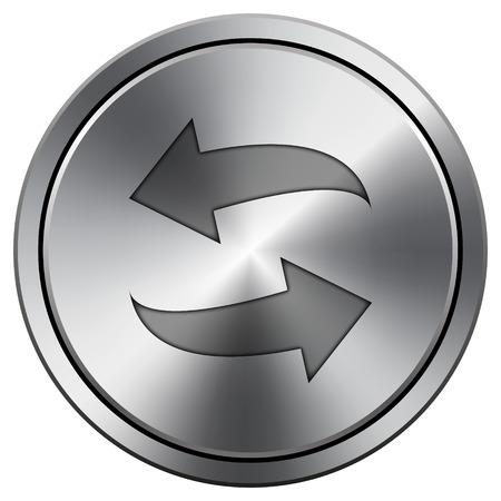 Swap icon. Metallic internet button on white background.  photo