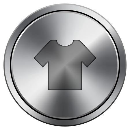 T-short icon. Metallic internet button on white background.  photo