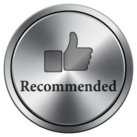 Recommended icon. Metallic internet button on white background.  photo