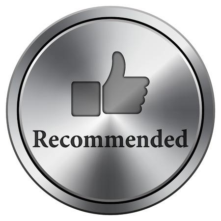Recommended icon. Metallic internet button on white background.  photo