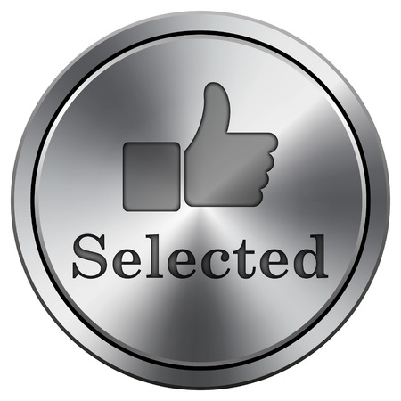 Selected icon. Metallic internet button on white background.  photo