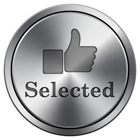 Selected icon. Metallic internet button on white background.  photo