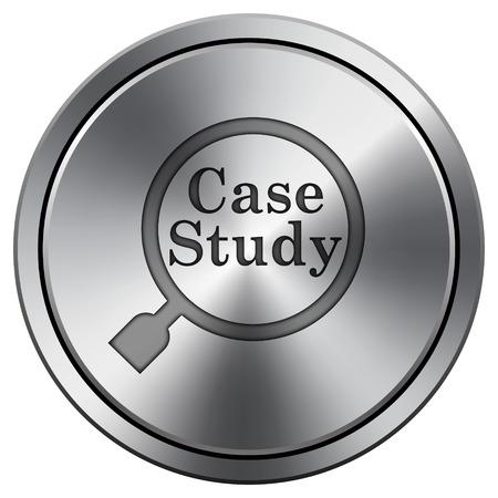 study icon: Icono Estudio de caso. Bot�n met�lico de internet sobre fondo blanco.