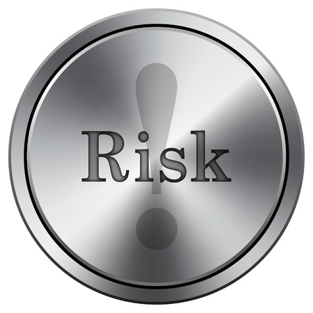 Risk icon. Metallic internet button on white background.  photo