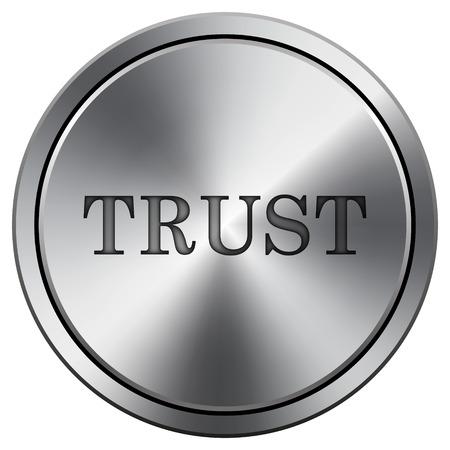 trusted: Trust icon. Metallic internet button on white background.  Stock Photo